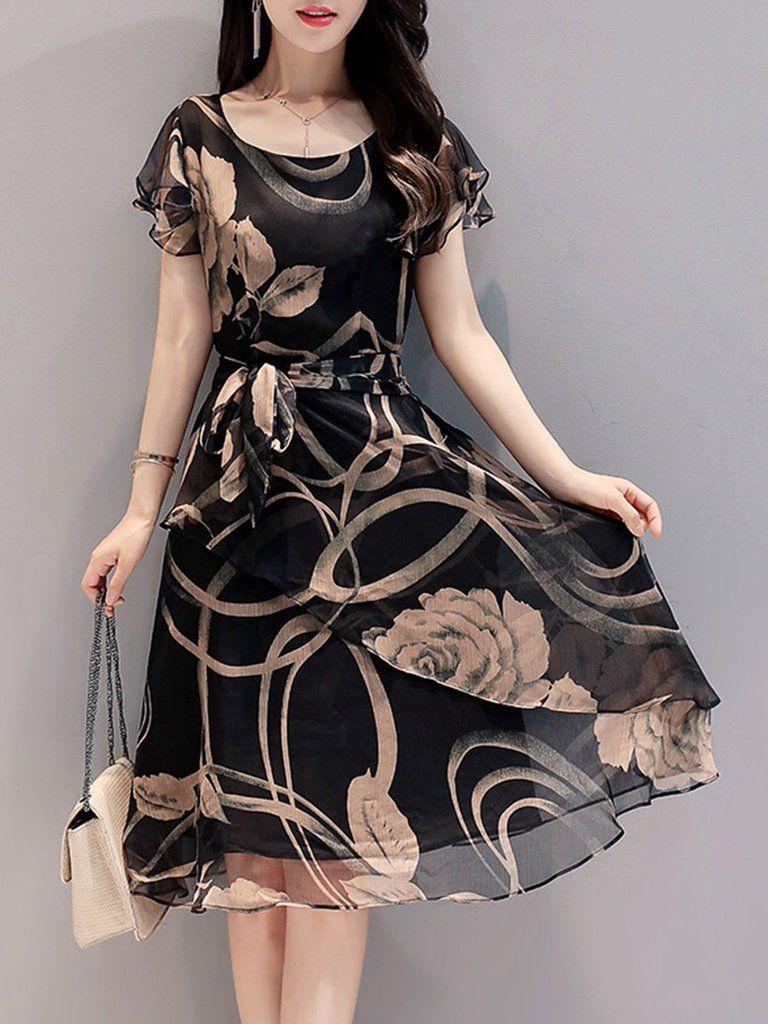 Summer round neck printed chiffon skater dress in dresses