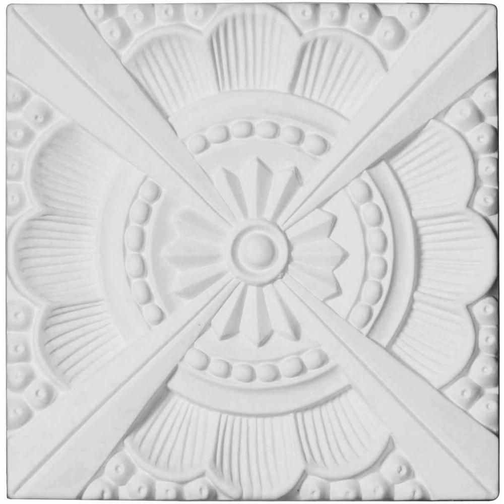 Ekena Millwork 5 8 In X 7 7 8 In X 7 7 8 In Polyurethane Palmetto Beaded Rosette Primed Ceiling Medallions Ceiling Tiles Home Ceiling