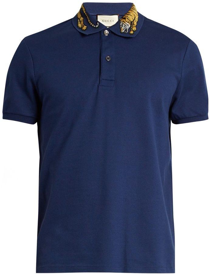 44e445741 Gucci Tiger-appliqué cotton-blend piqué polo shirt | Shirts | Polo ...