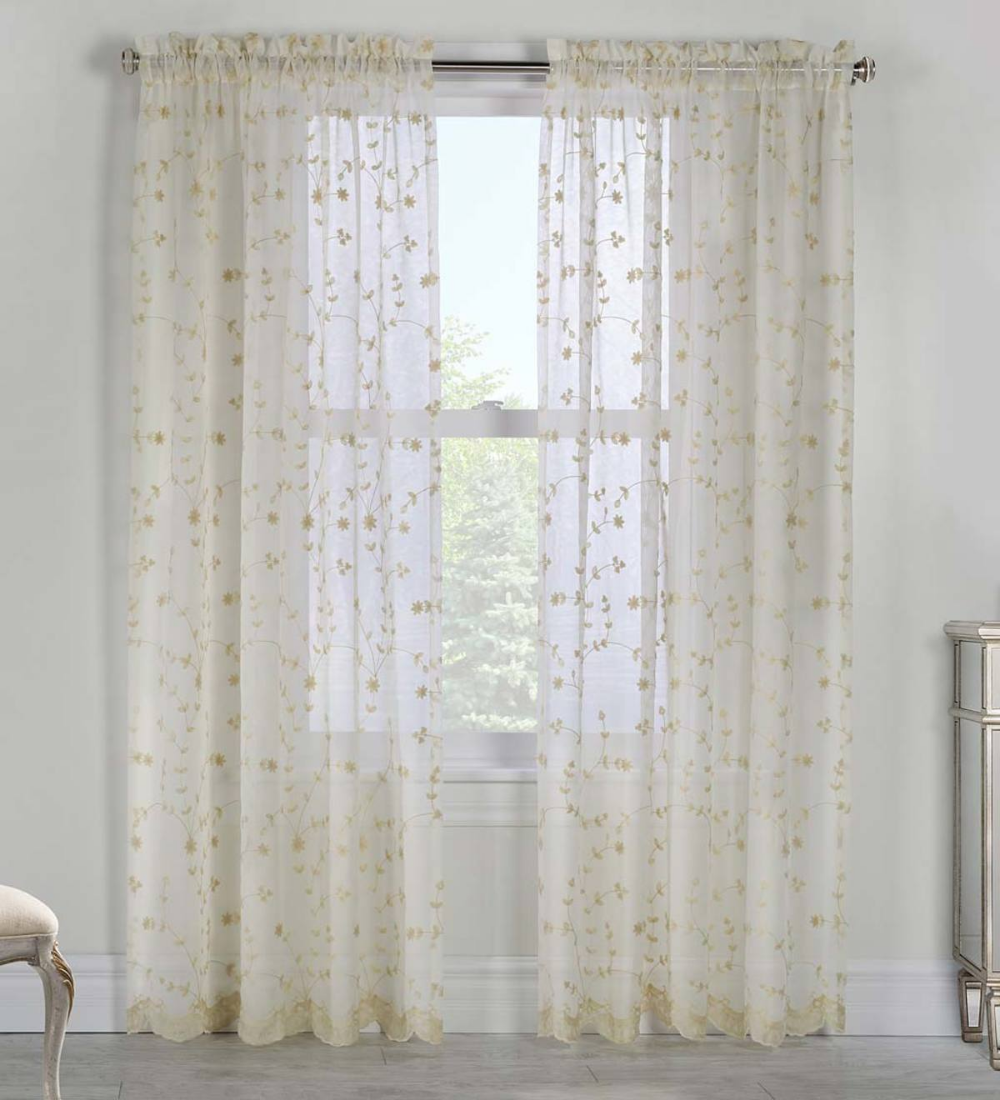 Candlewicking Embroidered Sheer Curtain Panels Home Accents