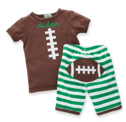 Mud Pie Little Sport Striped Creeper with Football Appliques