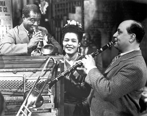 Louis Armstrong, Billie Holiday, and Barney Bigard in New Orleans   New Orleans.