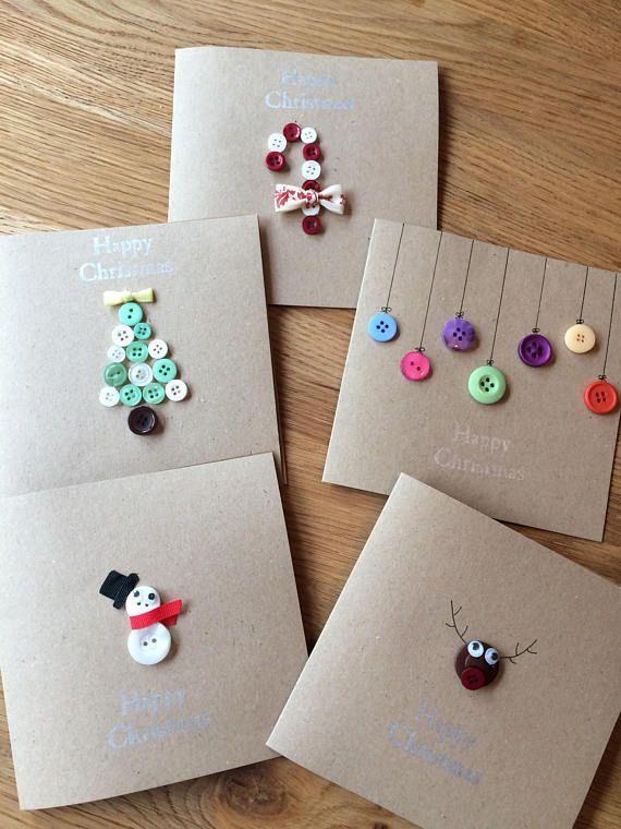 Individuelle Weihnachtskarten handgemacht mit Knöpfen und Schleife. 6 Designs #christmascardskids