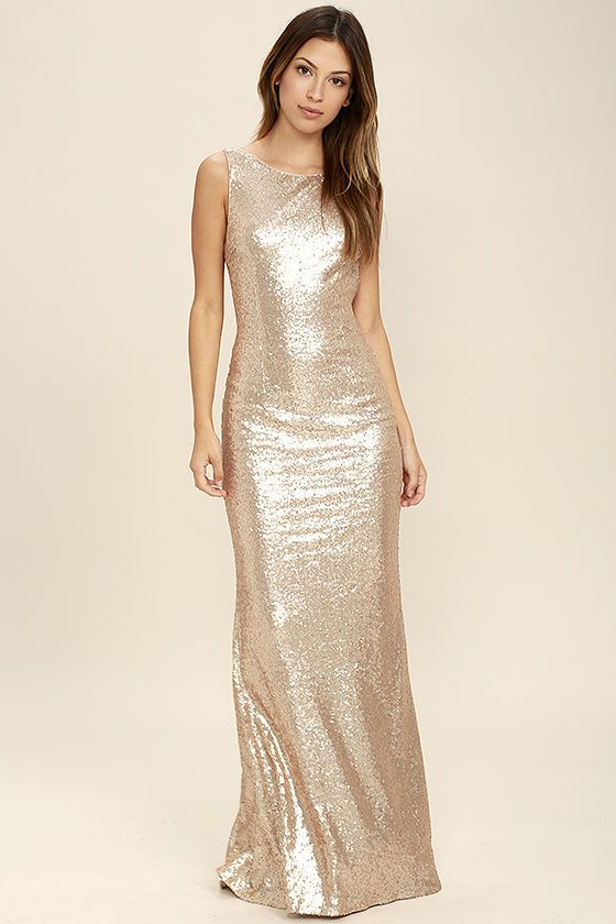 8649ddfd6894 $78.00-- Shimmer with every step you take in the Slink and Wink Matte Rose  Gold Sequin Maxi Dress! A rounded neckline and sexy cowl back top a darted,  ...