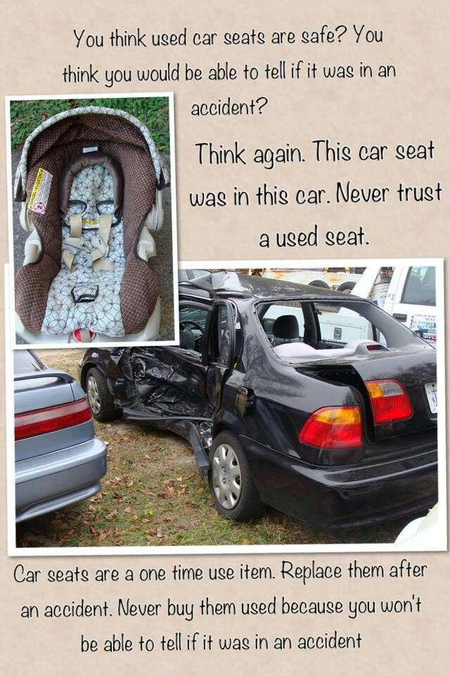 Car seat safety. Never use a second hand seat or one that has been ...