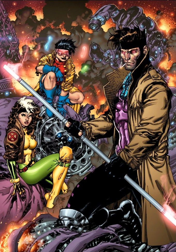 Jubilee, Rogue & Gambit by Jim Lee. Not only are these my favorite costumes for these characters, but they were designed by Jim Lee himself in the early 90s