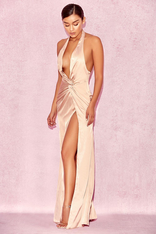 485ff65d64c3 Clothing : Max Dresses : 'Soraya' Maxi Vestido Nude de satén ...