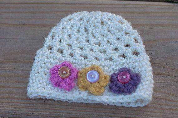 Premie Newborn Tiny Flower Beanie Crochet Baby #premiebabyhats