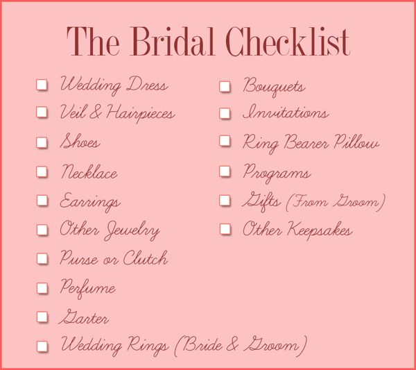 Bridal Checklist ☑ Wedding Pinterest Perfect wedding - wedding list