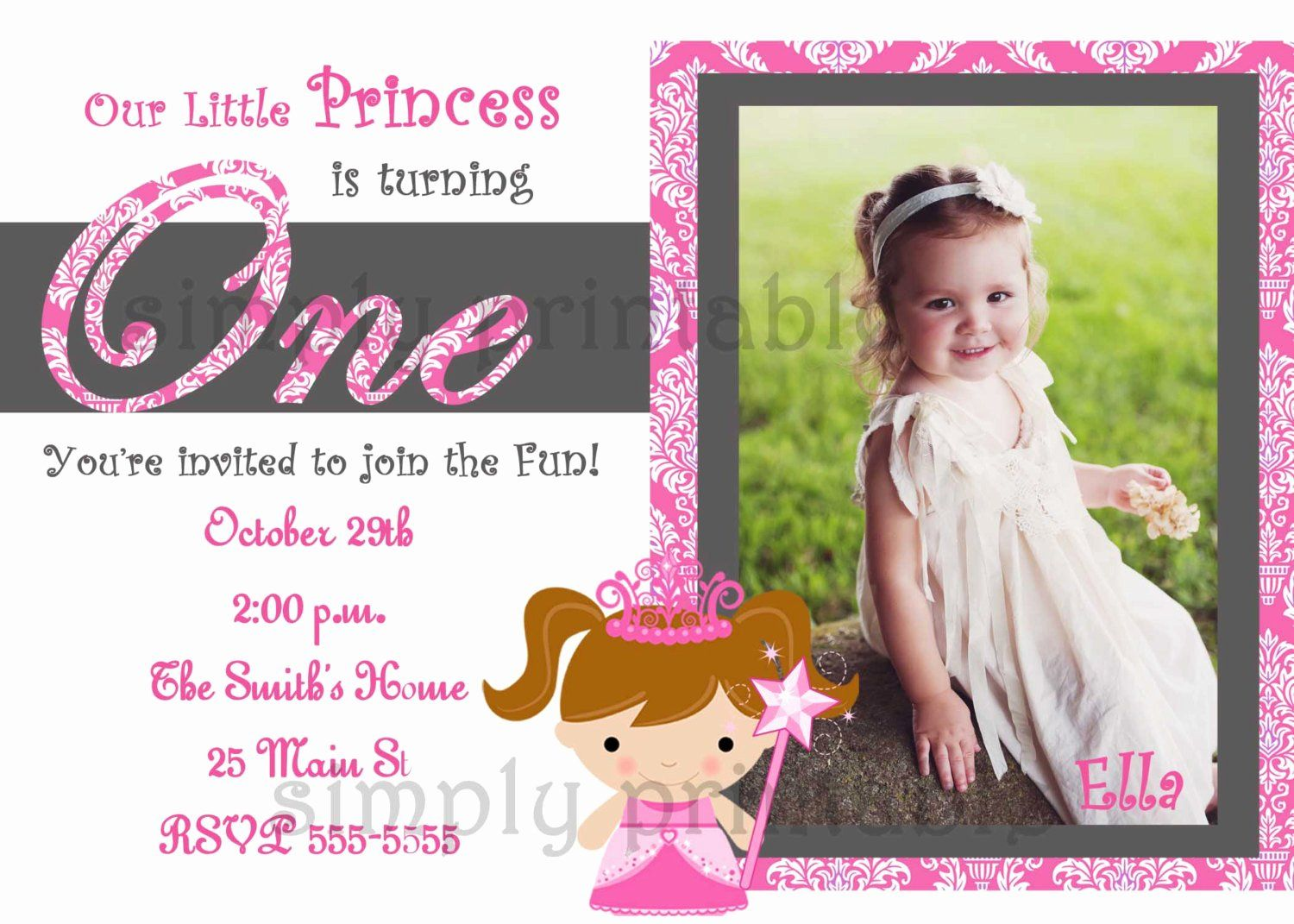 Baby Girl First Birthday Invitation Luxury 1st Birthday Party Invitations Template 1st Birthday Invitations Girl Birthday Invitations Girl Girl First Birthday