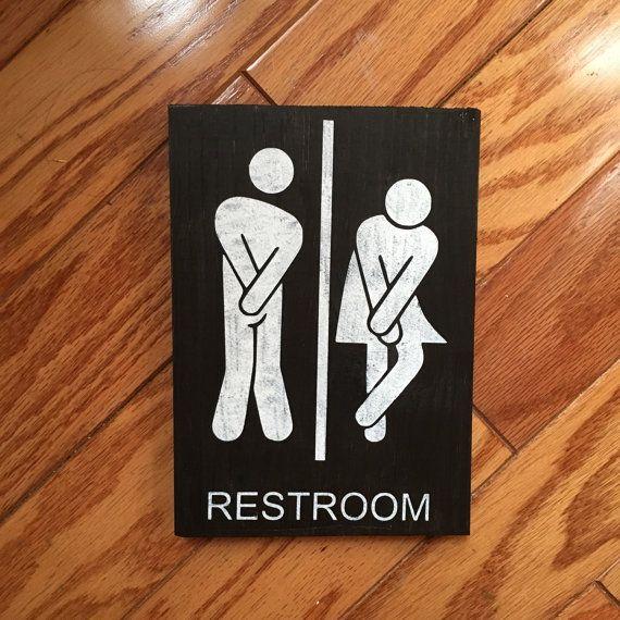 Restroom Sign Bathroom Wood Rustic Decor Male Female Funny Boyfriend Gift