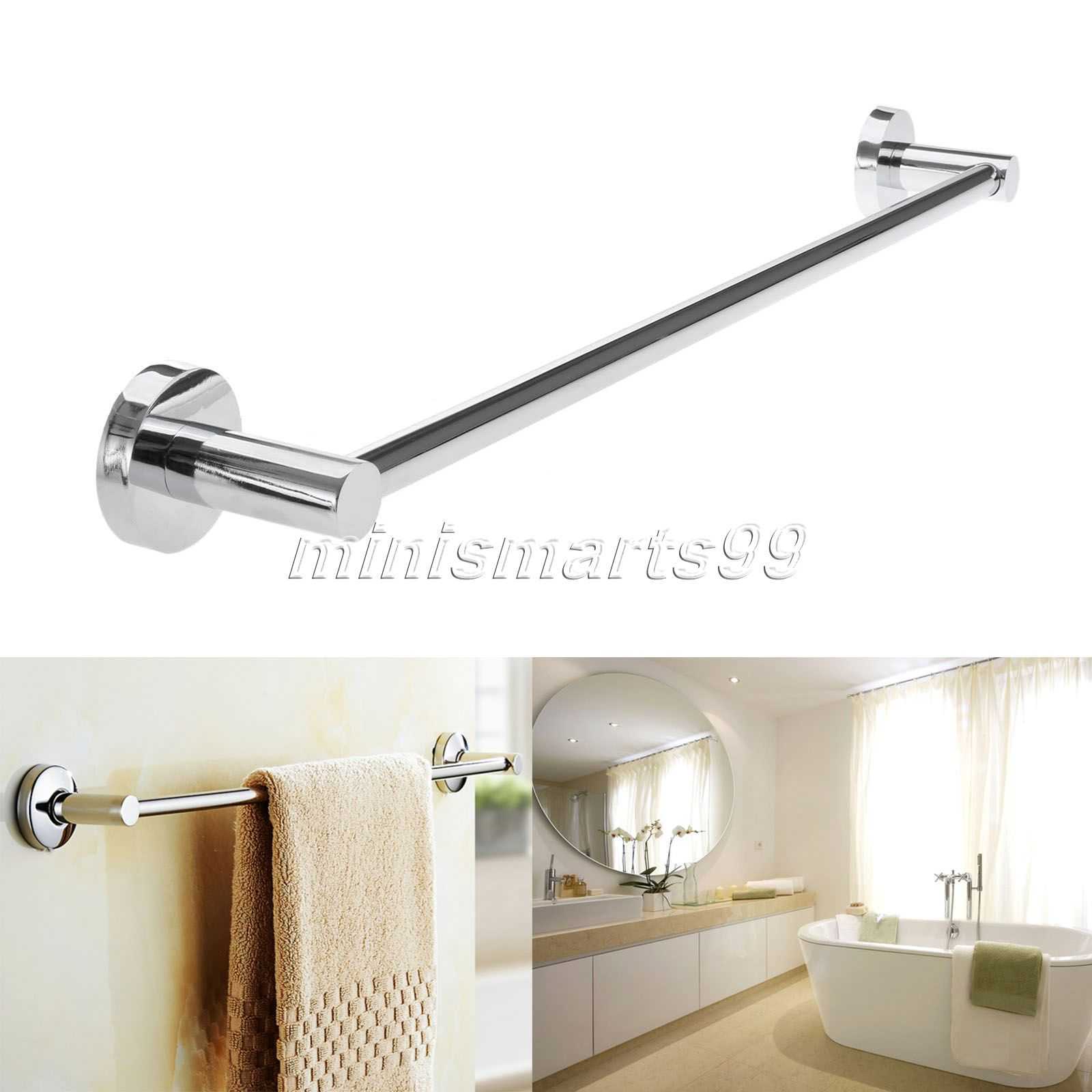 60cm Steel Towel Rack Holder Wall Mounted Bathroom Holders Single Pole Bars Bath