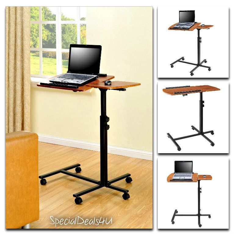 Portable Laptop Table Desk Cart Adjustable Rolling Trolley Notebook PC  Stand New