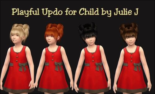Playful Updo Hair For Kids At Julietoon Julie J Sims 4 Updates Kids Hairstyles Sims Sims 4