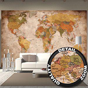 Fototapete Used Look Wandbild Dekoration Globus Kontinente Atlas Weltkarte  Retro Old School Vintage Map Weltkugel Geografie