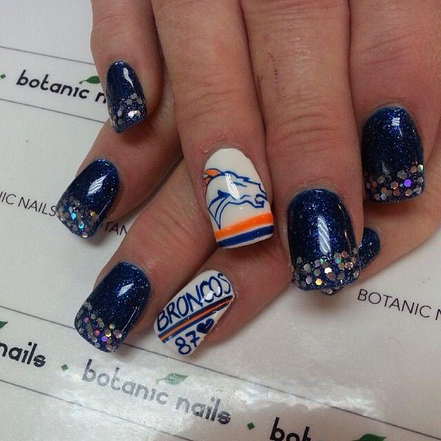 Broncos Nails | Nail Art | Pinterest | Football team, Football and ...