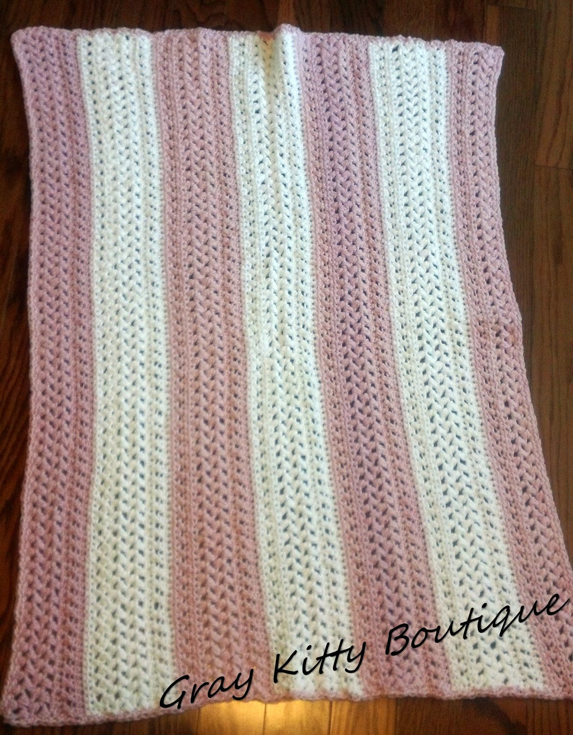 100% Cotton Pink and White Baby Girl Blanket by GrayKittyBoutique. $45.00, via Etsy.