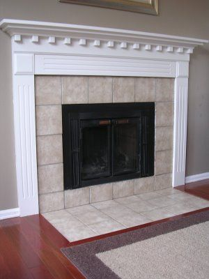 Freckles Chic Fireplace After Paint Need To Replace Icky Tile Fireplace Tile Around Fireplace Home Living Room