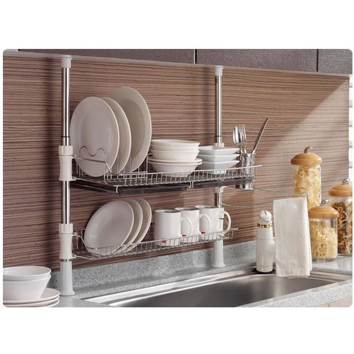 Merveilleux Stainless Fixing Pole 2 Tiers Dish Drying Rack Drainer Dryer Tray Cup  Storage #KOSU