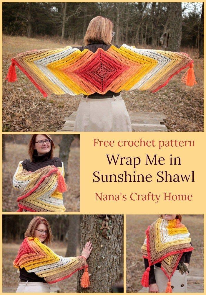 Wrap Me in Sunshine Shawl free crochet pattern #shawlcrochetpattern