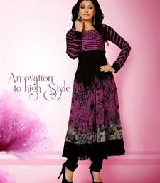 Buy Pink & Black Sizzling designer anarkali style attire pakistani-salwar-kameez online