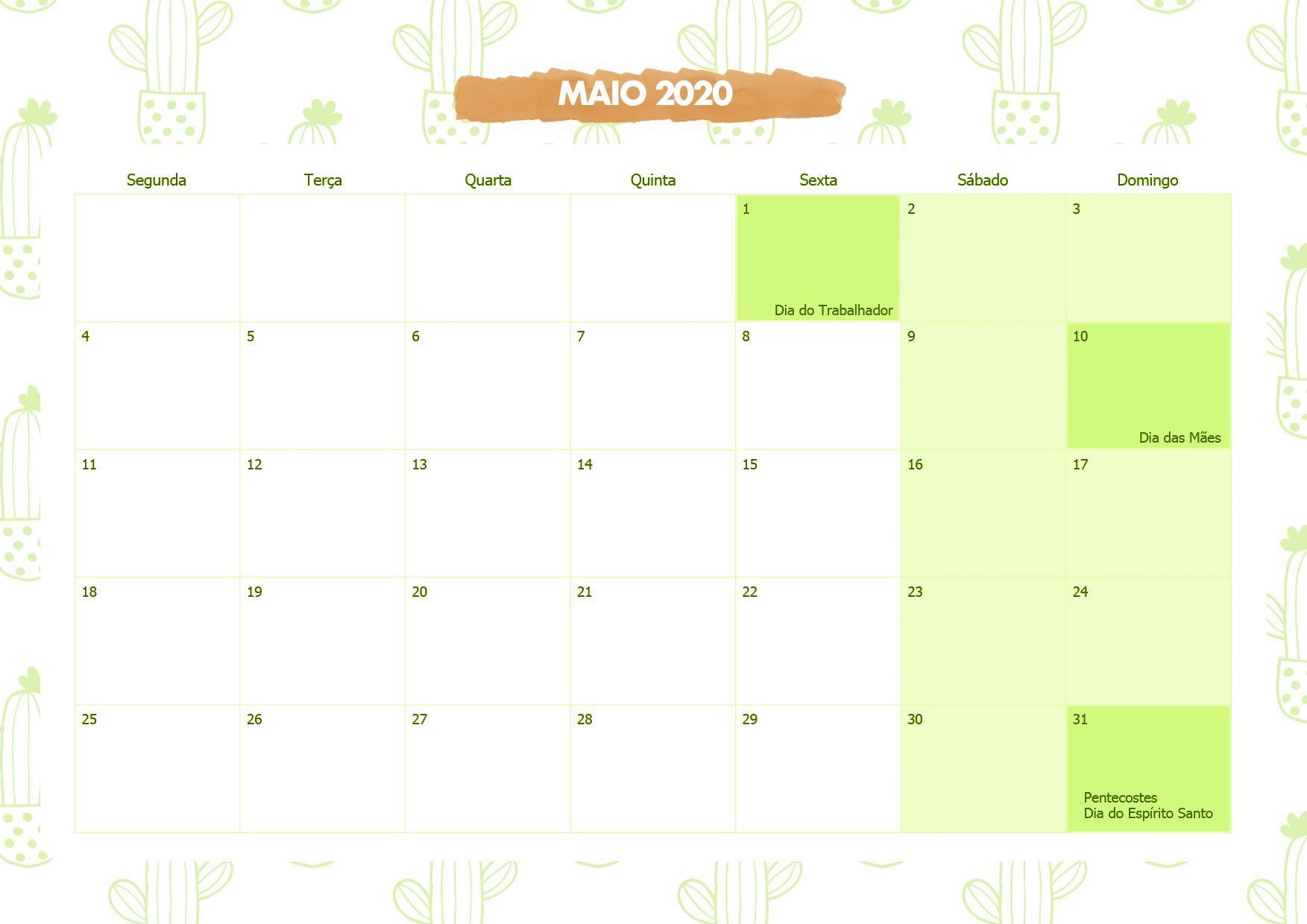 Calendario Mensal Cactos Maio 2020 Em 2020 Calendario Maio
