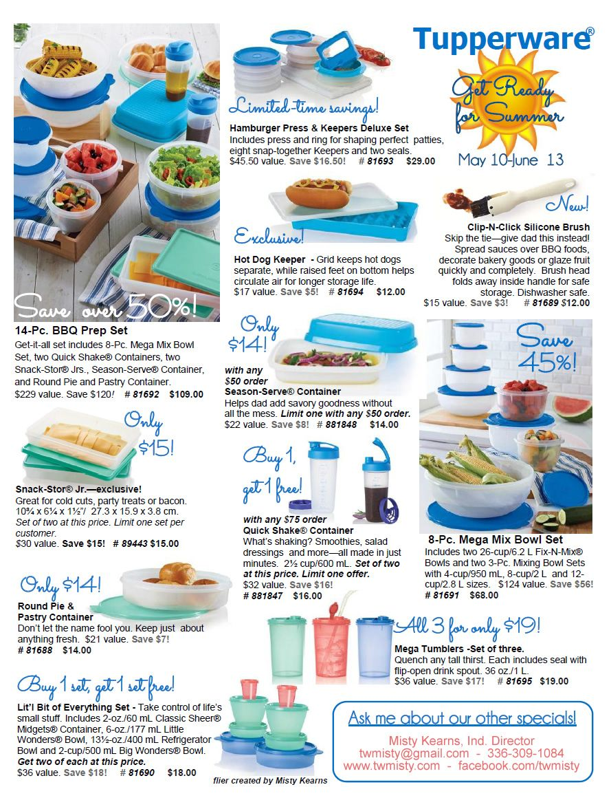 Mid May Sales from #Tupperware! Get ready for #grilling #cookouts & #bbq's this #summer! Contact me to order & ask about my specials!
