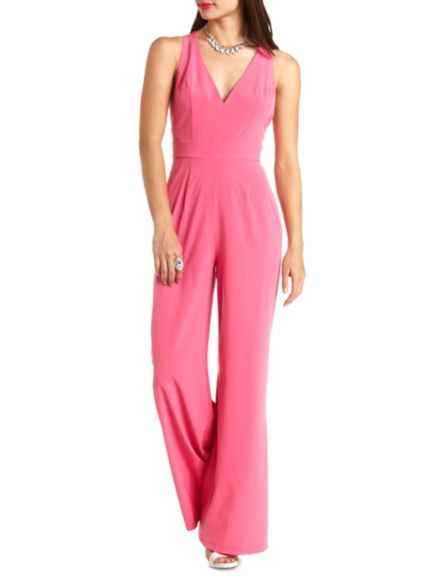 Plunging Cross-Back Wide Leg Jumpsuit: Charlotte Russe