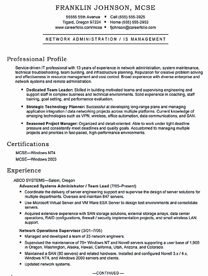 Cisco Network Engineer Resume New Sample Resume Objectives