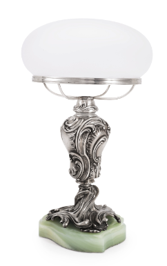 An importantFabergé silver table lamp, workmaster Julius Rappoport, St. Petersburg, circa 1895 Estimate 120,000 — 180,000 USD
