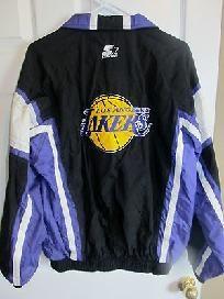 Vintage Los Angeles Lakers Starter Nba Zip Up Wind Breaker Jacket Large Long Sleeve Tshirt Men Hip Hop Outfits 90s Fashion