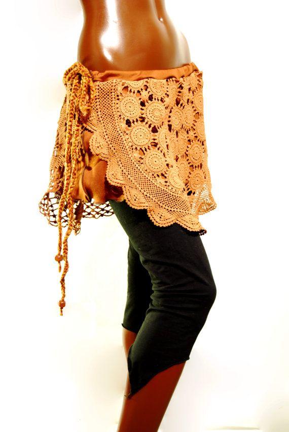 Brown crochet skirt elven boho gypsy by PinkyPurpleTree on Etsy