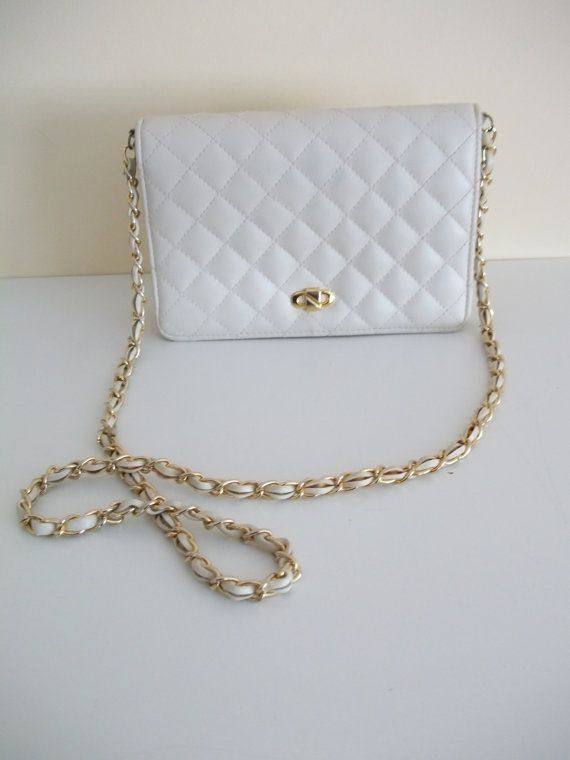 Vintage Leather Walborg Quilted Hand Bag Small Off White