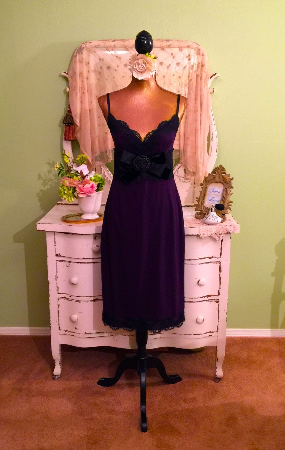 Dolce gabbanna dress purple slip dress designer dress mll