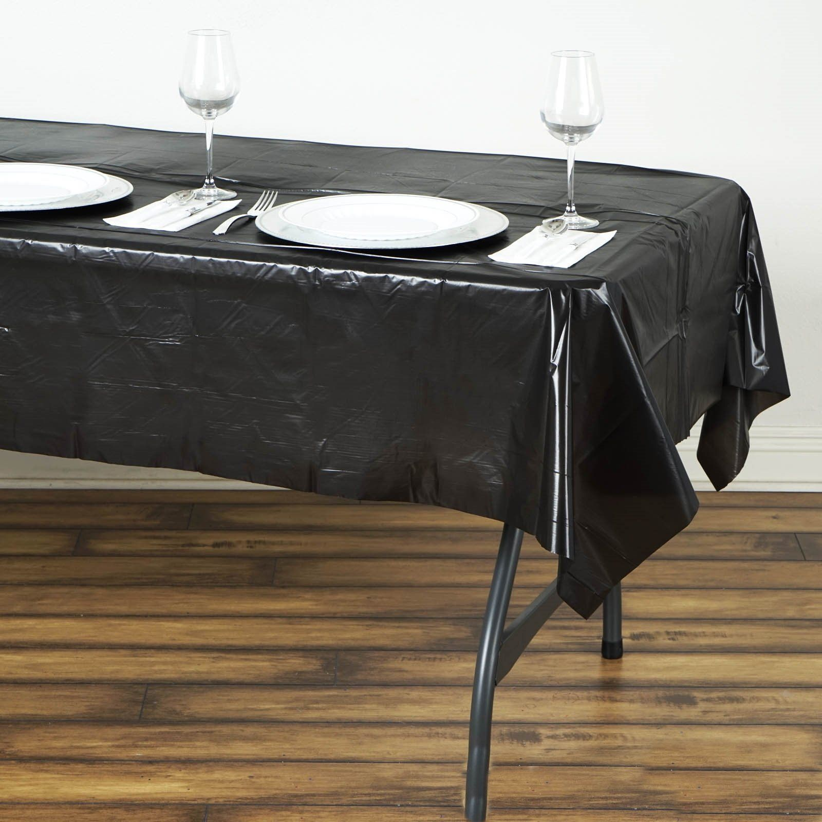 54 X 72 Black 10 Mil Thick Waterproof Tablecloth Pvc Rectangle Disposable Tablecloth In 2020 Waterproof Tablecloth Table Cloth Restaurant Decor