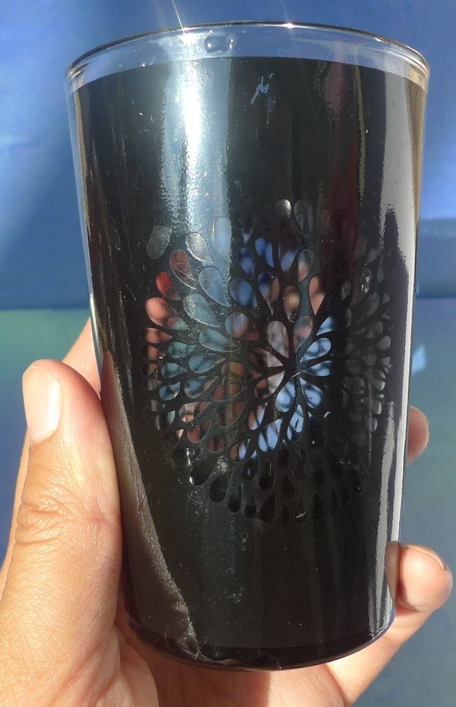 Vtg collectibles barware drinking glass mug cup black flower vtg collectibles barware drinking glass mug cup black flower ornament mark ho1 solutioingenieria Gallery