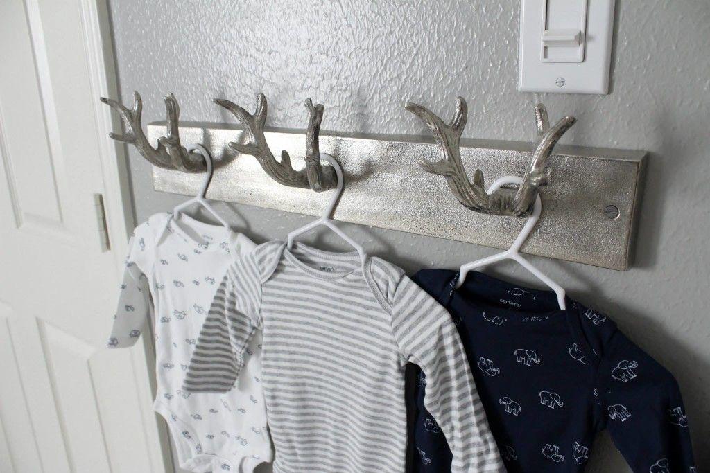 Antler Wall Hook Rack For Rustic Baby Boy Nursery