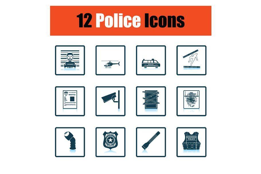 Set Of Police Icons Paint Icon Icon Icon Set