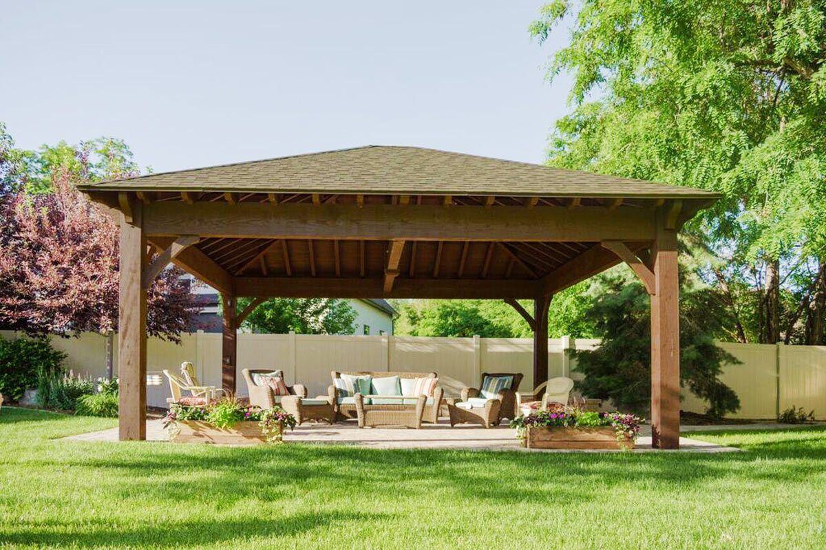 22 X24 Hip Roof Pavilion W Integrated Self Contained Power Backyard Pavilion Pergola Outdoor Pavilion