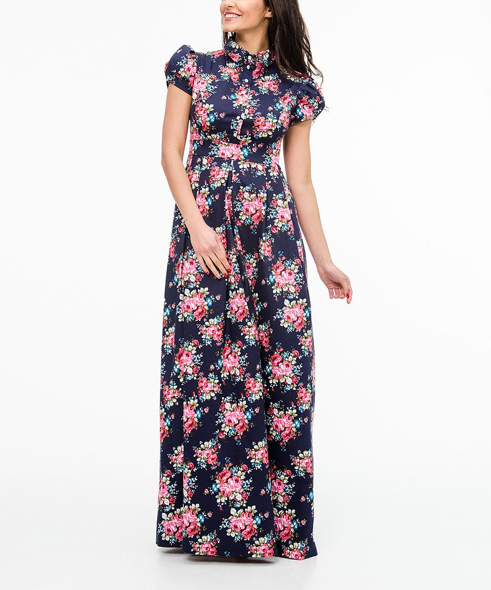 Loving this zean navy flowers puffsleeve maxi dress on zulily