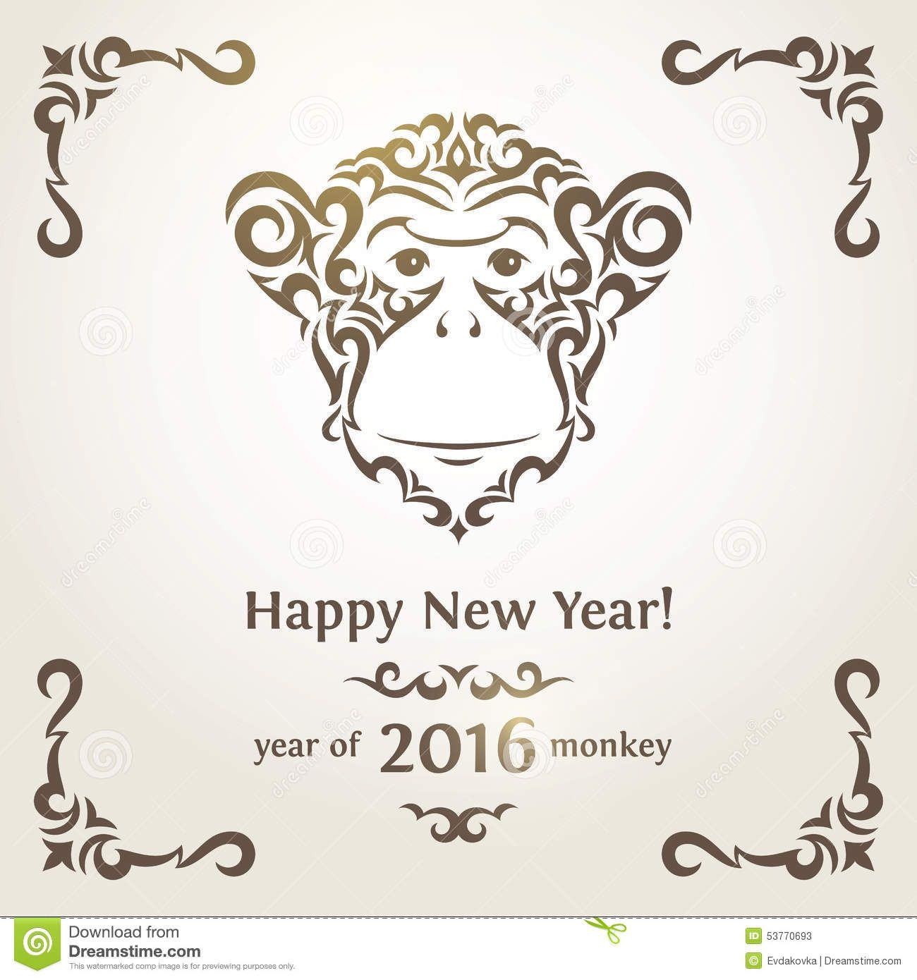 Greeting New Year Card With Monkey Symbol Of The New Year Card Symbols Newyear