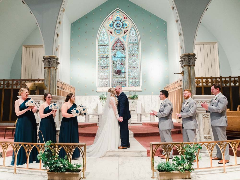 Old Stone Chapel wedding ceremony in downtown Canton by