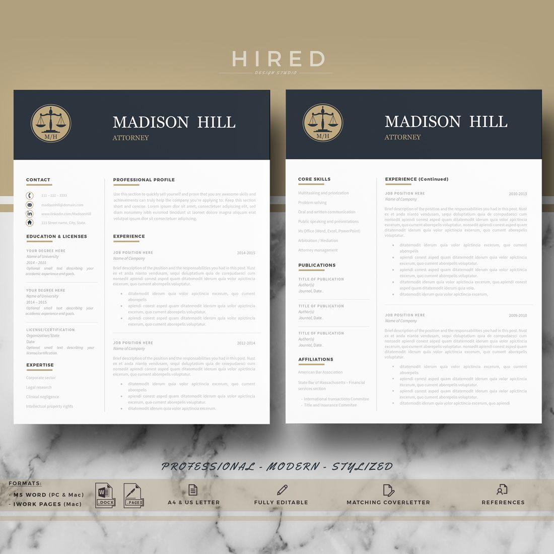 Attorney Resume, CV Template Legal Resume, CV; Lawyer