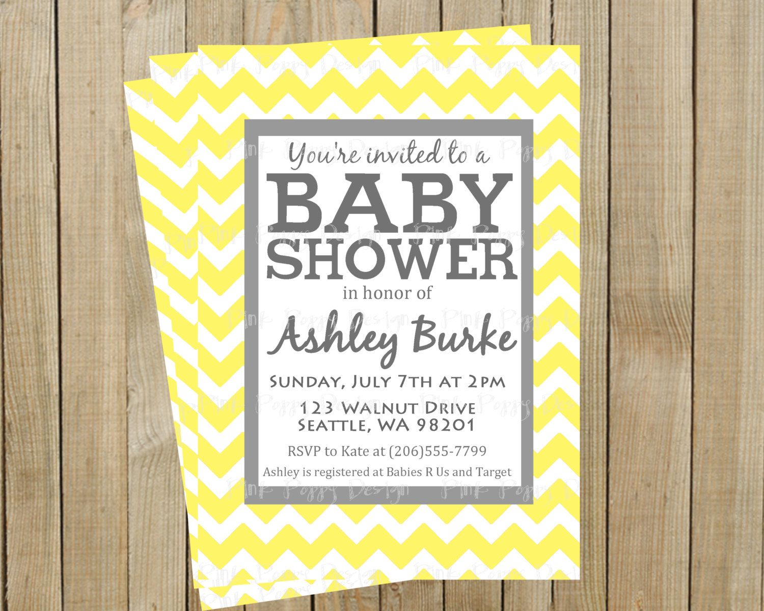 Trendy Yellow Chevron with Gray Baby Shower Invitation, Custom ...