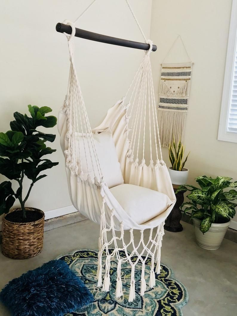 Hammock Swing Chair Macrame Hammock Chair White Hammock Etsy Hammock Swing Chair Indoor Swing Chair Macrame Hanging Chair