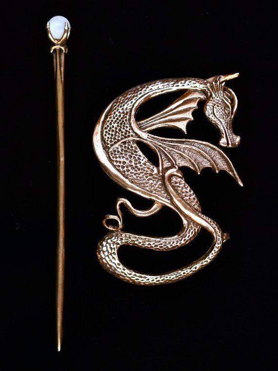 f4d9bf608 Dragon Hair Barrette Renaissance Hair Accessories Bronze Wyvern Dragon Hair  Stick Dragon Jewelry Gam