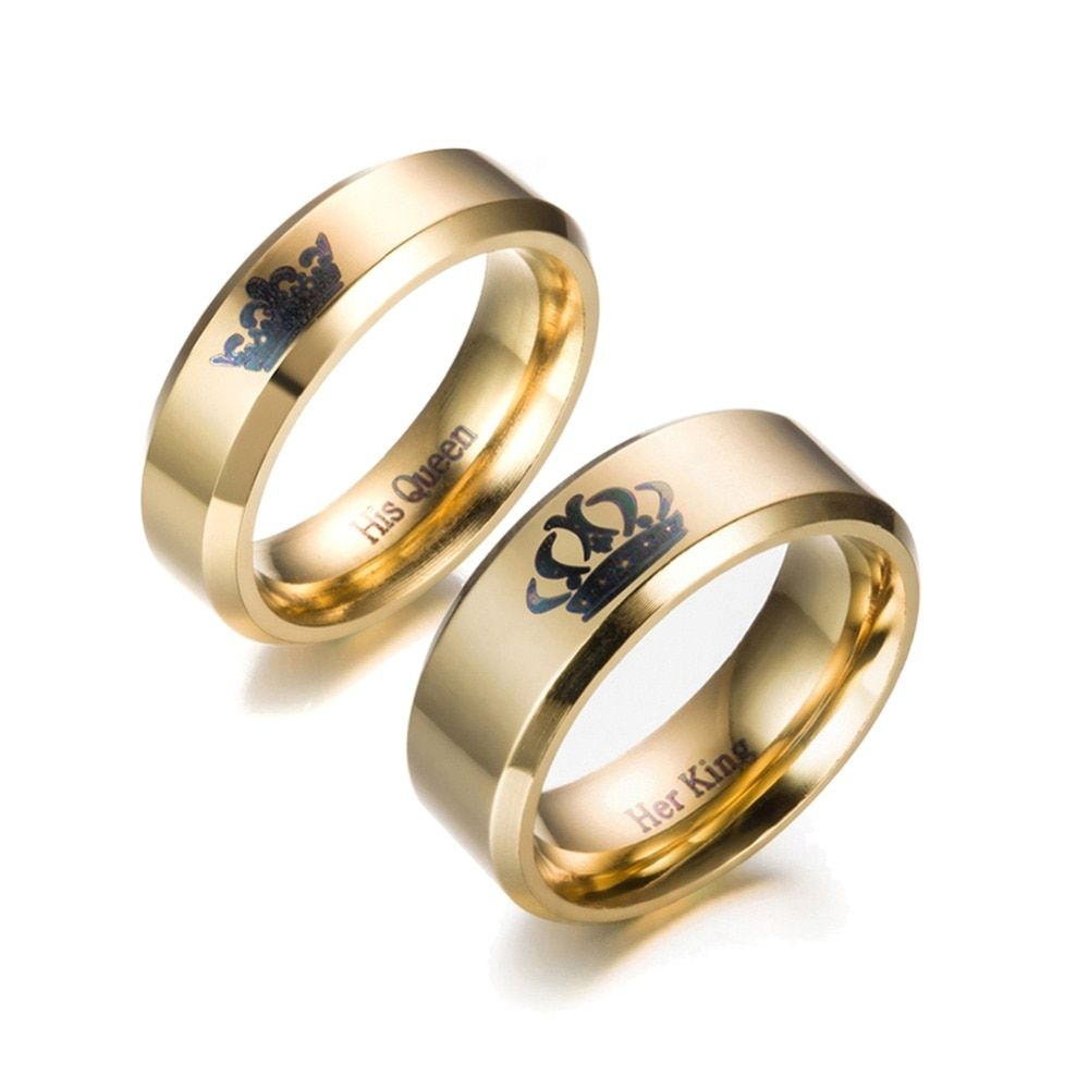 c3de0d3e877 6mm Men's Gold Ring Couples Crown Ring Her King&His Queen Rings for ...