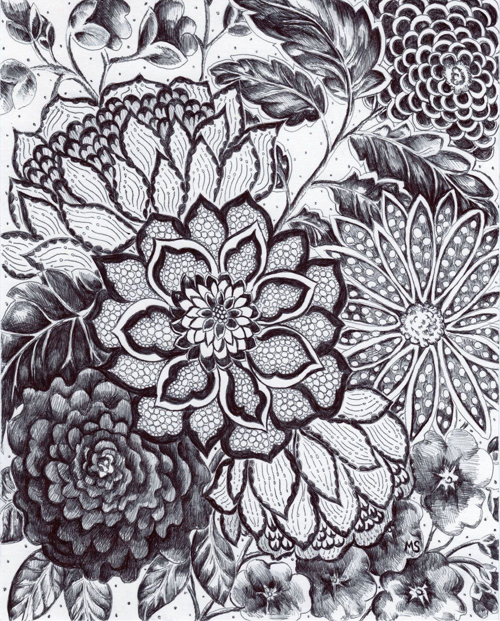 17 Best images about Flower patterns on Pinterest | Flower line ...