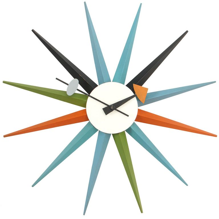The Sunburst Clock By George Nelson An Electrical Wall Clock Made Of Painted Aluminum And Natural Solid Oa Sunburst Clock Clock George Nelson Clocks