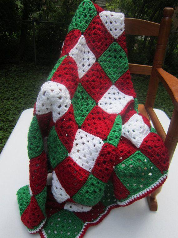 Crochet Christmas Baby Afghan Granny Square Blanket Red